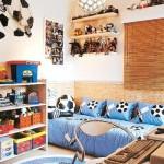 O tema futebol inspirou a decoração deste quarto. (Foto:Divulgação)