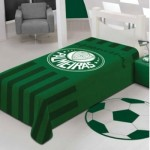 Manta do Palmeiras e tapete em formato de bola de futebol. (Foto:Divulgação)
