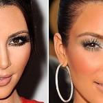 As cores estão corretas, mas o excesso de base na maquiagem de Kim Kardashian deixou sua pele plastificada. (Foto: divulgação)