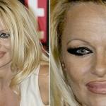O delineador exagerado ao regor dos olhos ainda não é pior que o contorno dos lábios de Pamena Anderson. (Foto: divulgação)