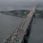 Ponte Rio-Niterói sob forte chuva (Foto: Divulgação)