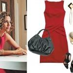 Um vestidinho vermelho básico, sem recortes sensuais. (Foto:Divulgação)