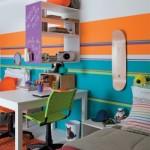 Uma parede colorida é bem vinda ao quarto da menina. (Foto:Divulgação)