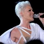 A cantora Pink exibindo o seu corte raspado na lateral. (Foto:Divulgação)