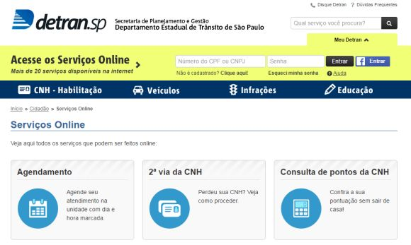São mais de 20 serviços online disponíveis no Portal Detran de São Paulo (Foto: Reprodução Detran SP)