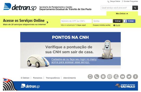 Agora, você pode acessar os serviços online do Detran SP usando seu perfil no Facebook (Foto: Reprodução Detran SP)
