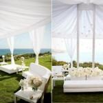 As tendas e cortinas claras fazem sucesso na decoração do lounge.  (Foto:Divulgação)
