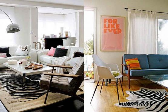 decoracao sala zebra : decoracao sala zebra:Tapete com estampa de zebra no centro da sala. (Foto:Divulgação)