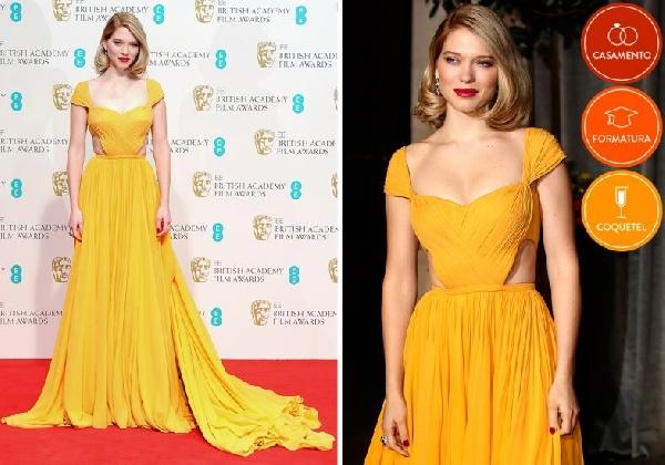 O vestido da convidada pode ser longo (Foto Divulgação: MdeMulher)