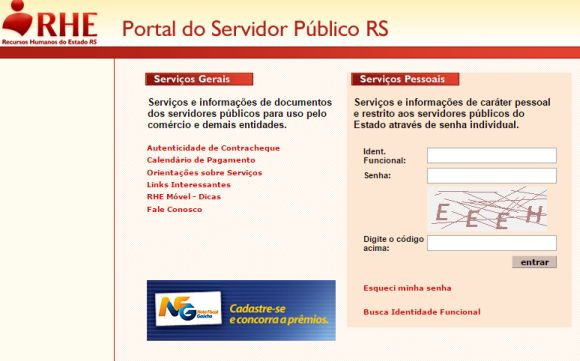 Portal do servidor rs, contra cheque