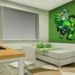 Adesivo do Hulk usado para decorar a parede. (Foto:Divulgação)