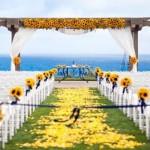 O amarelo do girassol alegra a cerimônia. (Foto:Divulgação)