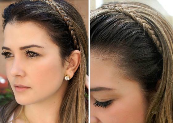 Neste penteado, a trança lateral funciona como tiara (Foto: Divulgação)