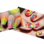 Unhas com cores vibrantes e a marmorizada. (Foto: Divulgação)