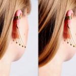 O Ear cuff pode ser decorado com correntes ou brilhantes. (Foto:Divulgação)