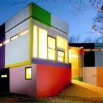 Casa moderna com fachada colorida.  (Foto:Divulgação)