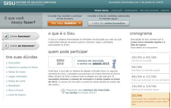 A inscrição na lista de espera deve ser feita no site do Sisu (Foto: Reprodução Sisu)