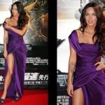 Vestido roxo de Megan Fox. (Foto:Divulgação)