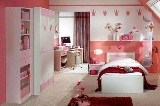 Quarto para meninas em tons cor-de-rosa. (Foto: divulgação)