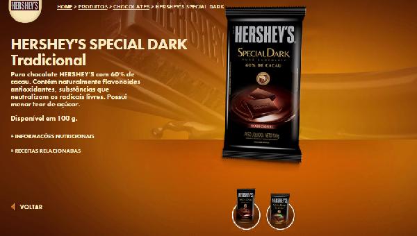 A Barra de chocolate com 60% de cacau pode ser usada em deliciosas receitas (Foto Divulgação: Hershey's)