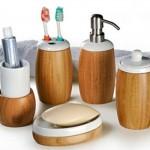 Acessórios de banheiro de bambu. (Foto:Divulgação)