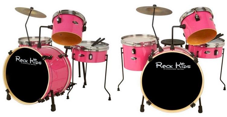 A bateria Rock Kids é ideal para a criança aprender a tocar de verdade (Foto: Divulgação)