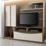 TV divide espaço com livros e enfeites na estante. (Foto:Divulgação)