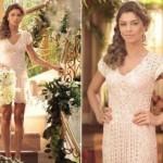 Grazi usando um vestido de noiva curto com renda renascença. (Foto:Divulgação)