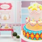 Um bolo romântico e colorido de menina. (Foto:Divulgação)