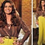 A pantalona amarela de Helô faz um grande sucesso.  (Foto:Divulgação)