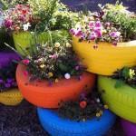 Faça os pneus virarem vasos de flores (Foto: Divulgação)
