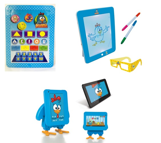 Tablet Baby (Lider), Tablet 3D (Dican) e Tablet Tectoy da Galinha Pintadinha, respectivamente (Foto: Divulgação)
