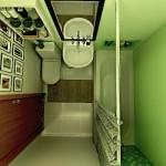 Visto de cima, este banheiro é elegante, pequenos e tem tudo que os moradores precisam (Foto: Divulgação)