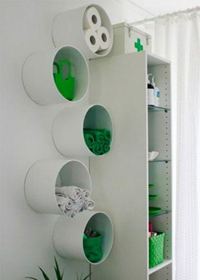 Aproveite os espaços com nichos para guardar toalhas e papel (Foto Divulgação: MdeMulher)
