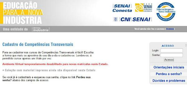 Página de inscrição do Senai Conecta (Foto: Divulgação)