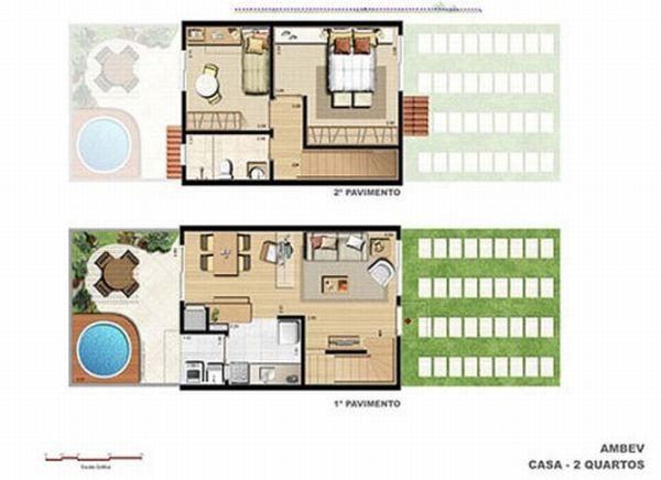 Plantas de casas pequenas com piscinas - Plantas de interior pequenas ...