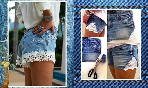 Você pode escolher diversos tipos de renda para costurar ou colar no shorts (Foto: Divulgação)