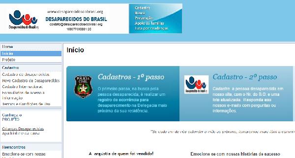 (Site especializado em busca de desaparecidos (Foto Divulgação: Desaparecidos do Brasil)