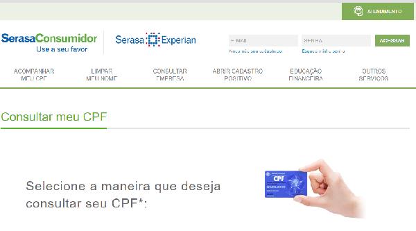 O site do Serasa disponibiliza várias opções de consultas (Foto Divulgação: Serasa)