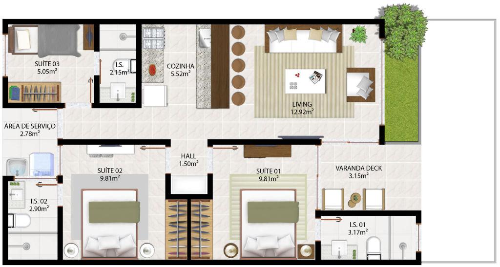 Casa com dois quartos (Foto: Tudo Construção)