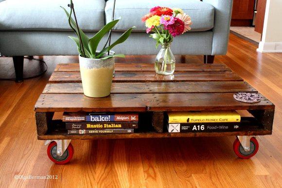Mesa de centro rústica. (Foto: Reprodução/ Crafthubs)
