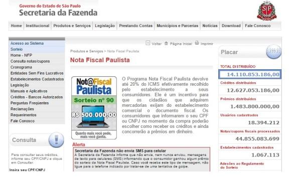 Site oficial da Nota Fiscal Paulista. (Foto Ilustrativa)
