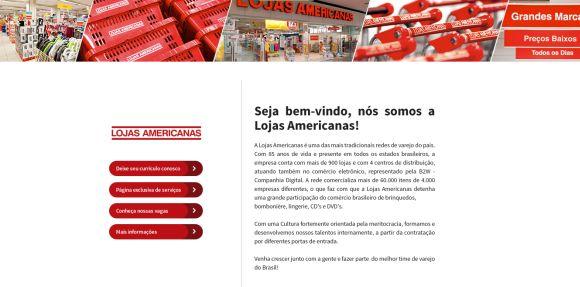 Página de envio de currículo para a Lojas Americanas (Foto: Reprodução Vagas.com)