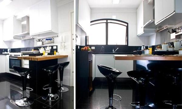 Cozinha em Preto e branco (Foto Divulgação: MdeMulher)