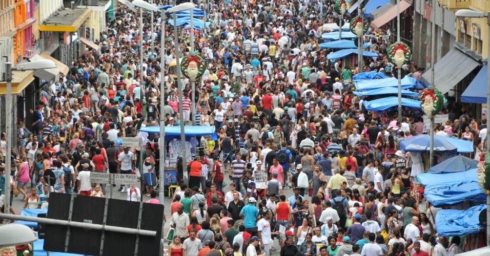 Imagem do alto mostra a situação da principal rua de comércio de São Paulo  (Foto: Divulgação)