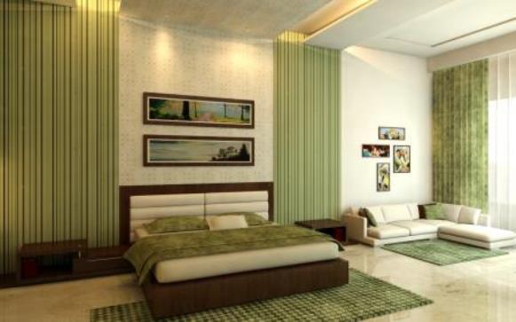 Quarto decorado com verde e castanho. (Foto Ilustrativa)