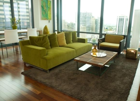 Sala de estar decorada com verde e castanho. (Foto Ilustrativa)