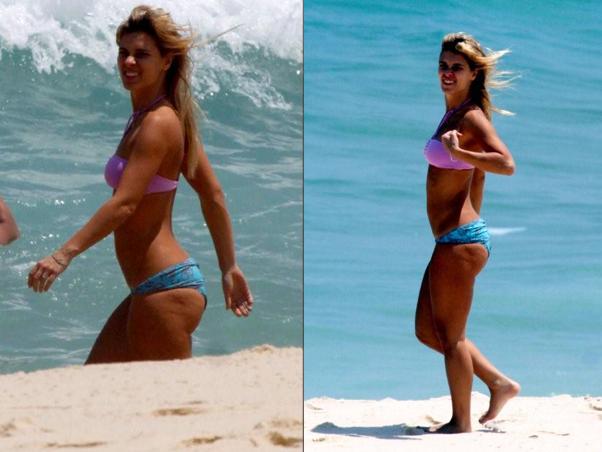 Carolina Dieckmann na praia (Foto: Ego)