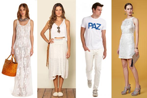 Os diferentes modelos para usar o tradicional branco no ano novo (Foto: Site Abril)