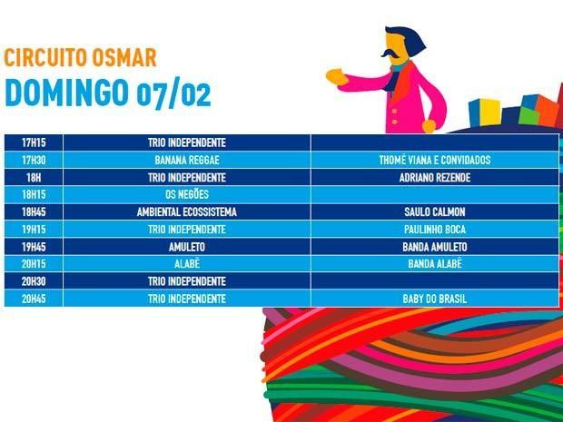 Programação de domingo (Foto: Divulgação/Prefeitura de Salvador)